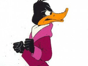Daffy Duck looking over shoulder by Warner Brothers Studios