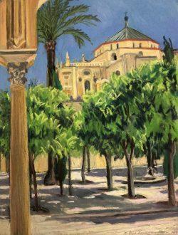 Patio de las Naranjas, La Mezquita, Cordoba, Spain by Elsie Dinsmore Popkin (1937-2005)