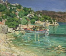 Kekova Island with Boat, Turkey by Elsie Dinsmore Popkin (1937-2005)