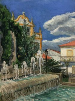 Lorca Fountain at Fuente Vaqueros, Spain by Elsie Dinsmore Popkin (1937-2005)