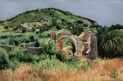Ruins at Patara - Byzantine Church, Turkey by Elsie Dinsmore Popkin (1937-2005)