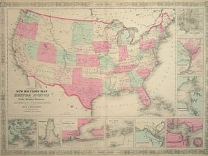 Map of the United States by Johnson & Ward