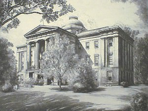 North Carolina State Capital, Raleigh (1st State Very Rare) by Louis Orr