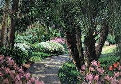 Palms and Indian Hawthorne at Rancho Santa Fe, San Diego by Elsie Dinsmore Popkin (1937-2005)