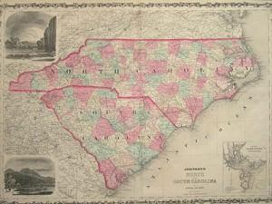 Map of North & South Carolina by Johnson & Browning