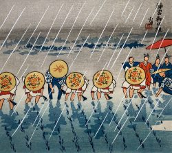 Rice Planters in the Rain by Tomikichiro Tokuriki (1902-1999)