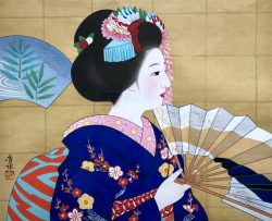Maiko with Fan by Asai Hidemi (1919-2014)