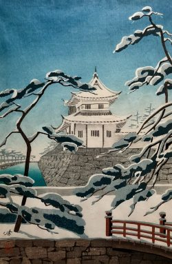 Nijo Castle, Kyoto, Under the Snow by Kenji Kawai (1908-1995)