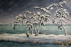 Snow at Hinuma Swamp by Kawase Hasui (1883-1957)