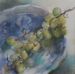 Grapes in a Blue Bowl by Linda Hutchinson