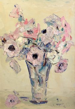 Anenomes Dans un Vase en Verre    by Wladimir de (Wlodzimierz)  Terlikowski