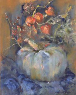 Blue Pumpkin with Japanese Lanterns by Linda Hutchinson