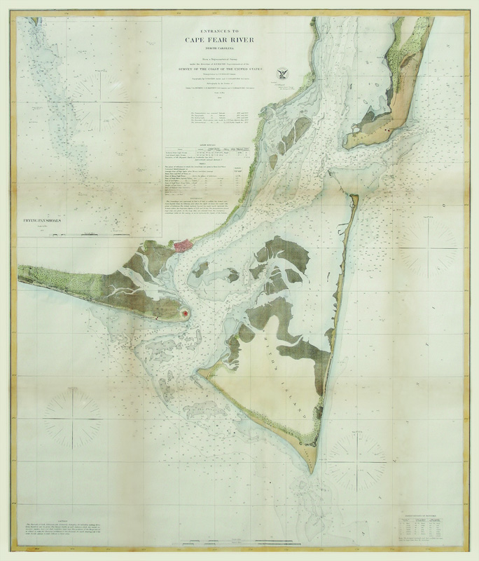 Entrances To Cape Fear River Nc By U S Coast Survey Chart Hand Colored Steel Engraving 1866 30 5x20 5 Inches