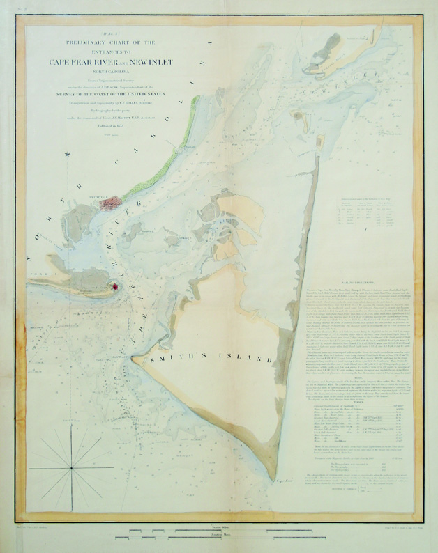 Cape Fear River And Inlet By U S Coast Survey Chart Hand Colored Steel Engraving 1853 18x14 Inches