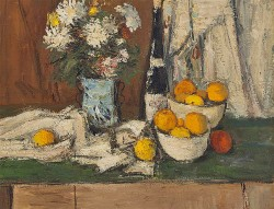 Mums, Wine and Oranges by Charles Quest (1904-1993)