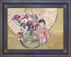 Anemones, Japanese Doll and Parasol by Wladimir de (Wlodzimierz)  Terlikowski