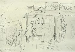 Preliminary Sketch of Flower Market by Claude Howell (1915-1997)