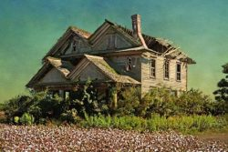 Falling Mansion in a Cotton Field by Watson  Brown