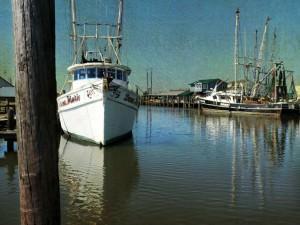 Shrimp Boats on Far Creek by Watson  Brown