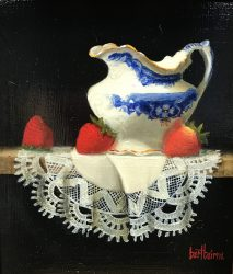 Flow Blue Creamer, Strawberries and Cloth by Bert Beirne