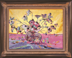 Flowers on Yellow Background and Pink Table by Wladimir de (Wlodzimierz)  Terlikowski