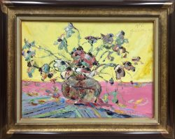 Flowers on Yellow Background and Pink Table by Wladimir  Terlikowski