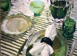 Green Striped Tablecloth by Laura Lacambra Shubert