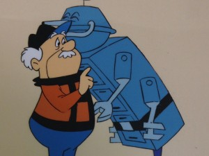 Henry and Mac the Robot Hugging by Hanna Barbera