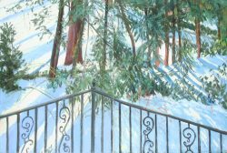 My Garden with Snow and Wrought Iron Rail by Elsie Dinsmore Popkin