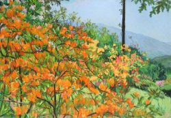 Flame Azaleas and Blue Ridge Mountains by Elsie Dinsmore Popkin