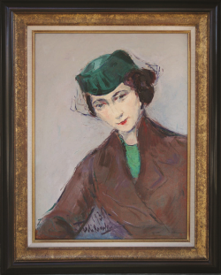Lady in Green Hat by Wladimir de (Wlodzimierz)  Terlikowski