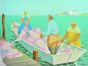 Loading Nets, Ocracoke by Claude Howell (1915-1997)