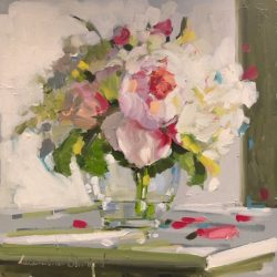 Peonies in a Glass Vase by Laura Lacambra Shubert