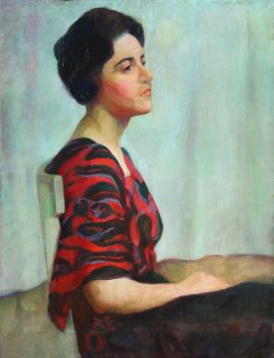 Portrait in Red and Black Silk Dress by Mabel Pugh