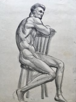 Seated Male Nude by Mabel Pugh