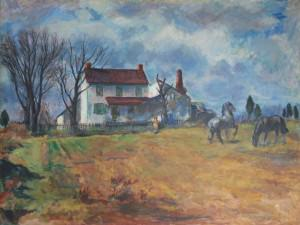 Farm House with Horses on Stoney Hill Road by Sarah Blakeslee