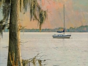 Sunset on the Pamlico with Spanish Moss by Watson  Brown