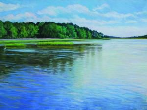 White Oak River, Bogue Sound by Elsie Dinsmore Popkin (1937-2005)