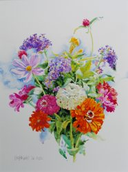 Zinnia Bouquet with Butterfly Bush by William C. Wright