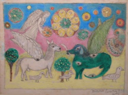 Horse and Dog with Wings by Minnie Evans