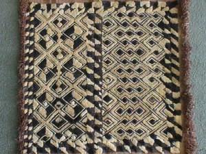 Kuba Cloth with Black and Gold Diamonds by Kuba Craftsperson