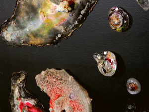 Rose Galaxy with Coal Planets and Broken Volcano by Sally Resnik Rockriver